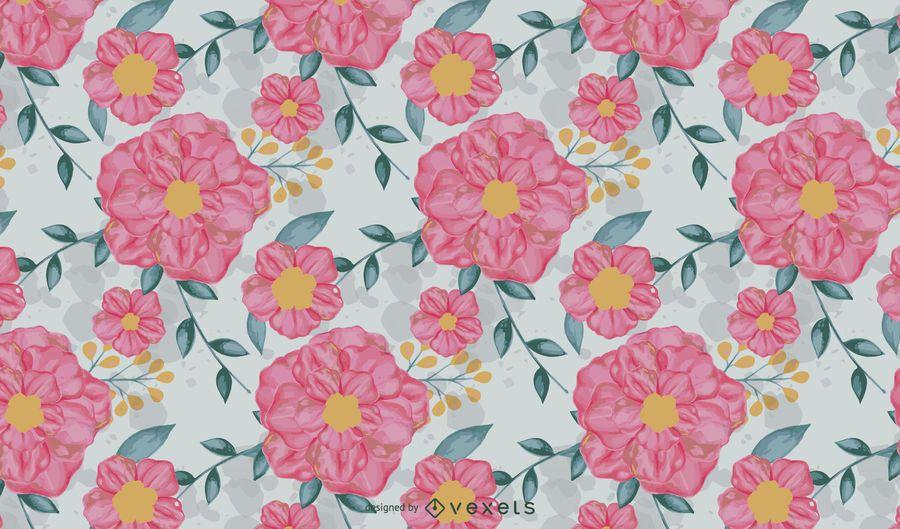 Vetor de padrão floral aquarela