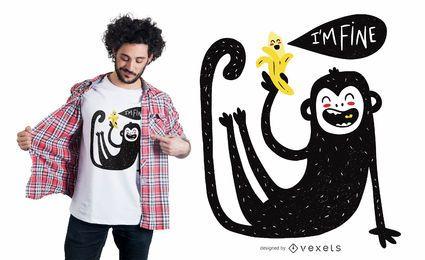 Diseño lindo de la camiseta del mono