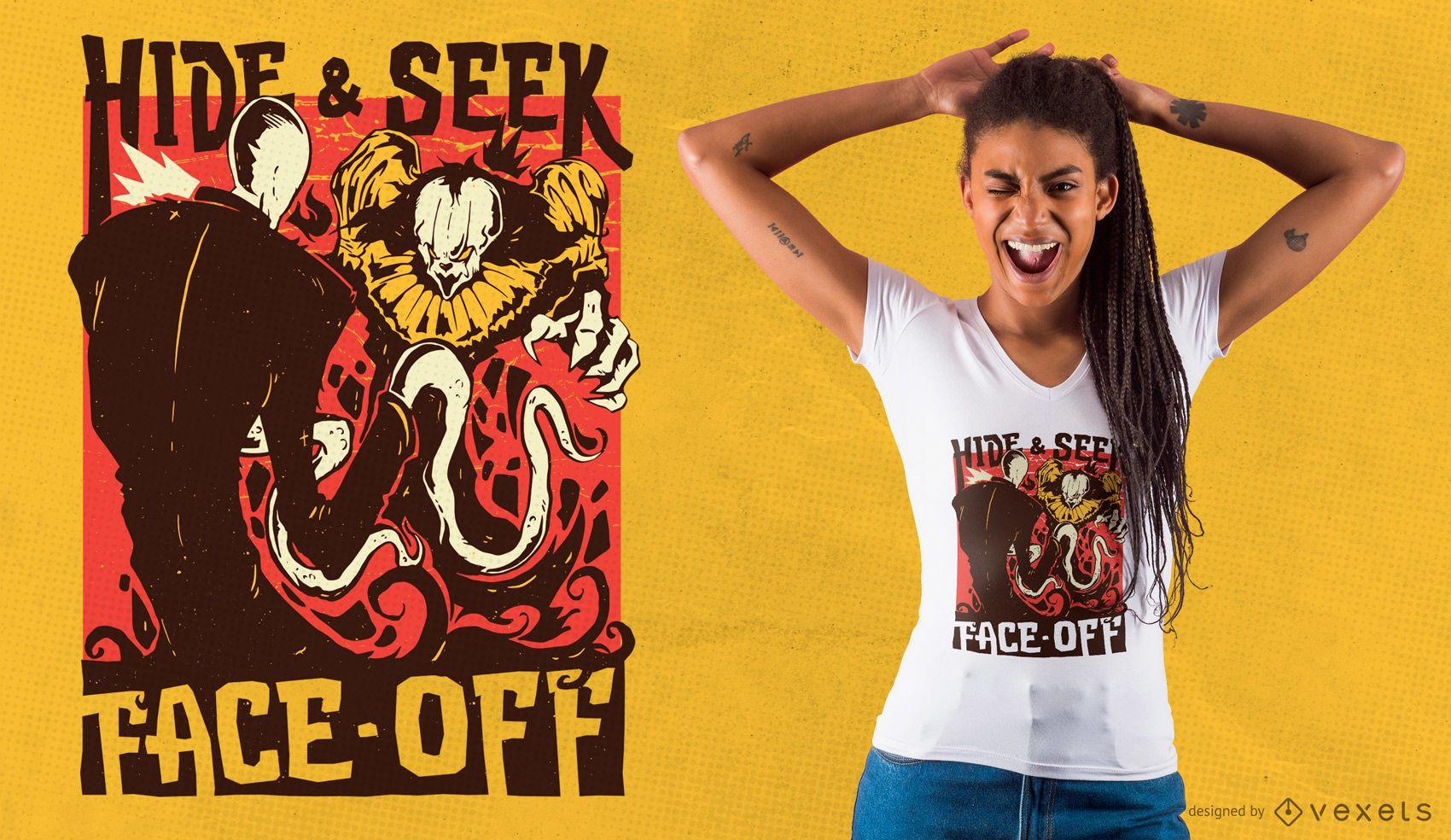 Horror Clown Slender T-shirt Design
