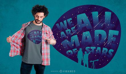 Diseño de camiseta con letras de observación de estrellas