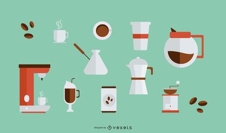 Colección de elementos de café de diseño plano