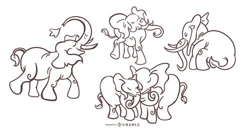 Conjunto elegante de traçado de elefante