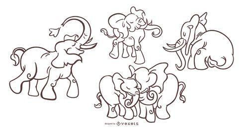 Juego de trazo elegante de elefante
