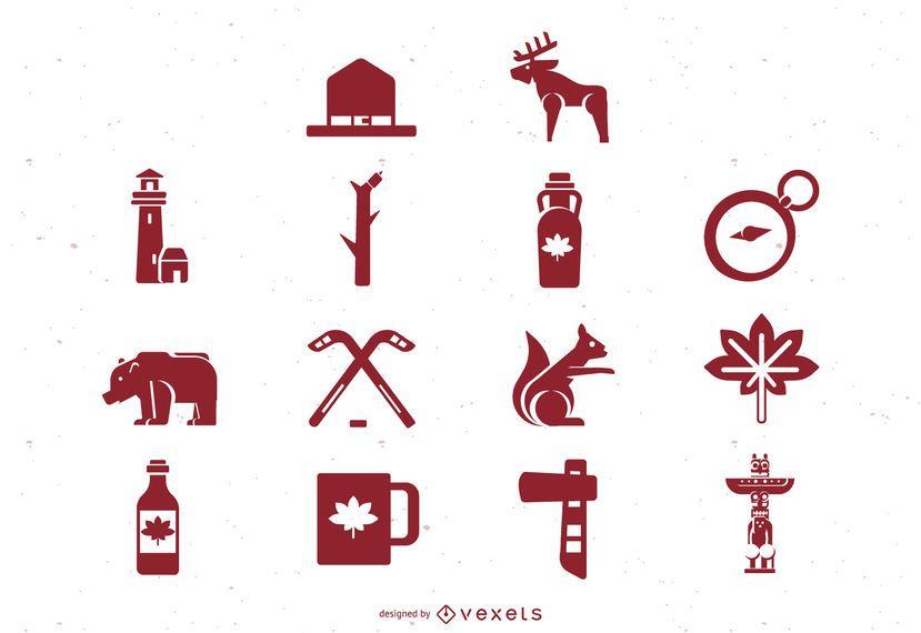 Kanada flache Icon Set