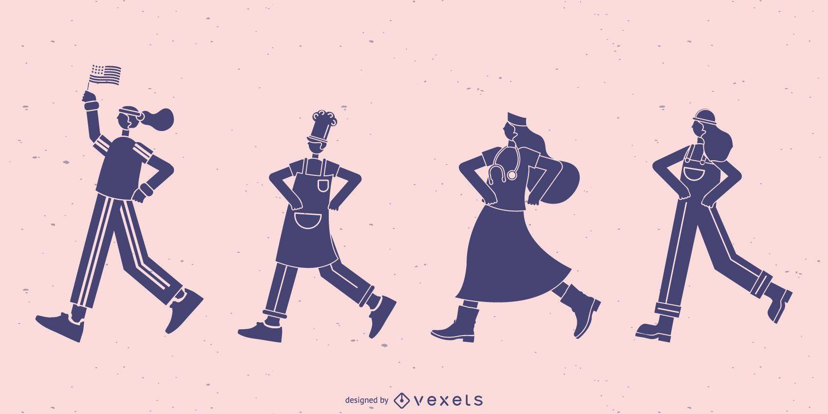Trabajadores caminando conjunto de silueta