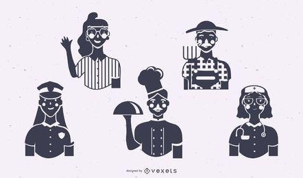 Conjunto de silhueta de trabalhadores