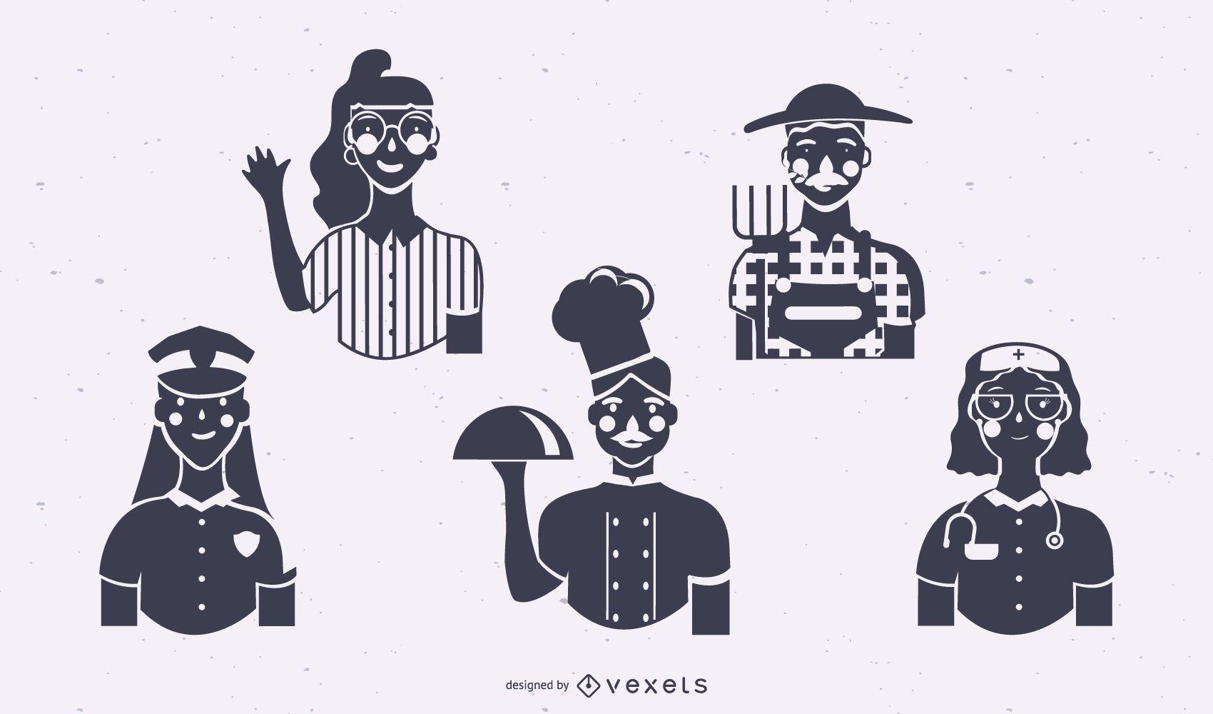 Conjunto de silueta de trabajadores