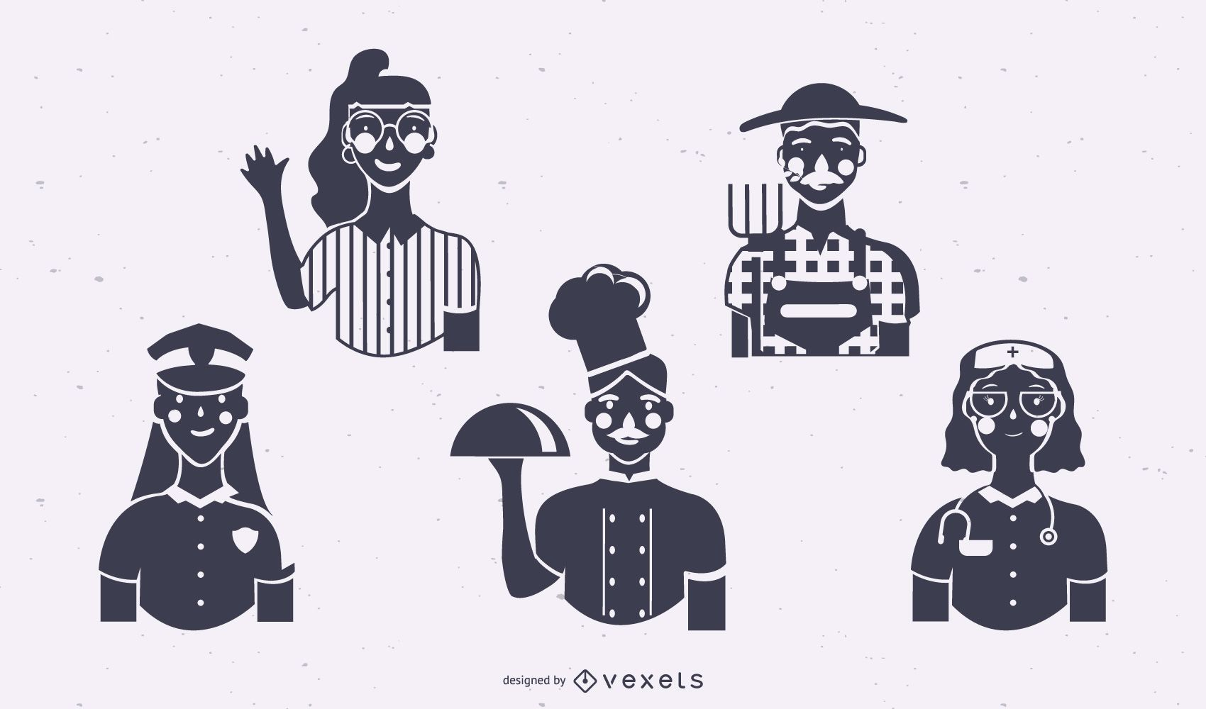 Workers silhouette set