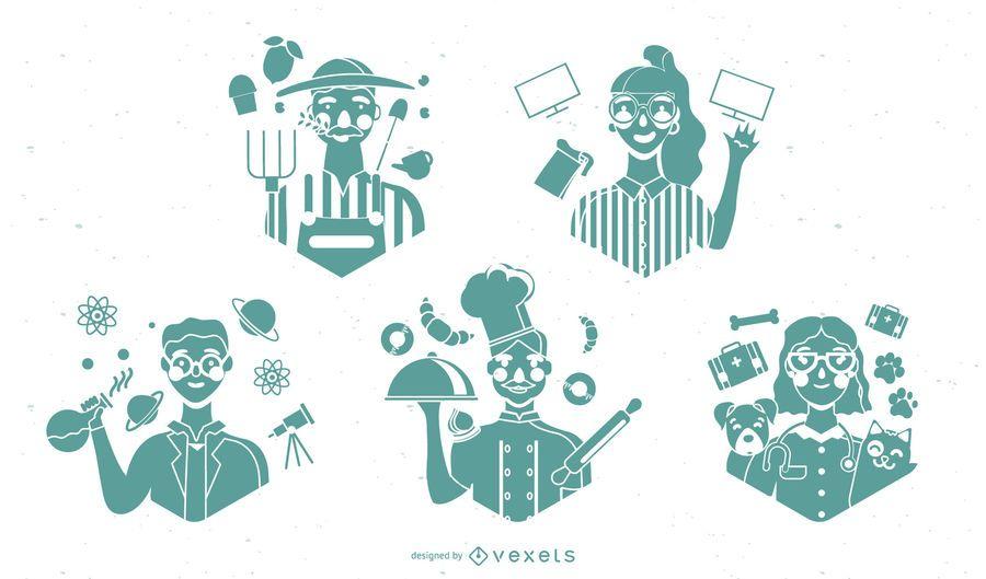 Conjunto de silhueta de personagens do Dia do Trabalho