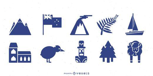Conjunto de silueta de Nueva Zelanda