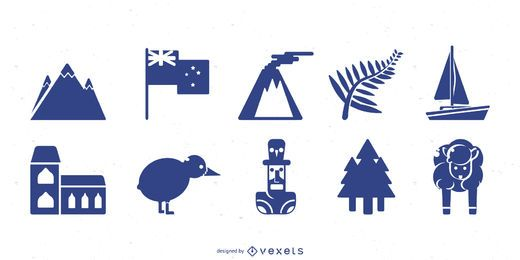 New Zealand silhouette set
