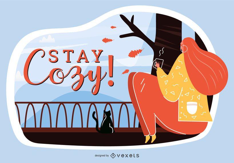 Bleiben Sie gemütlich Herbst Illustration
