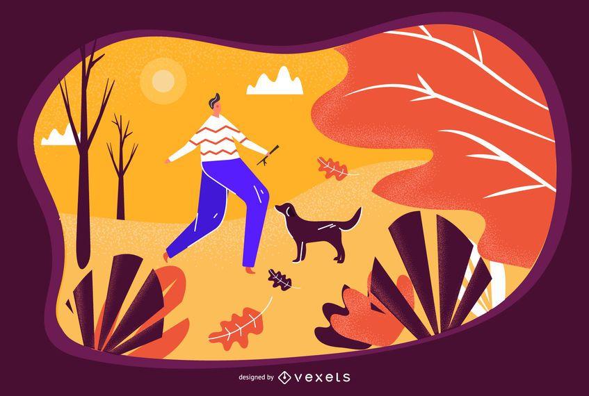 Ilustración de otoño en el parque