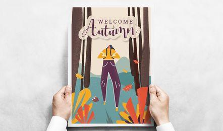 Bienvenido cartel de otoño