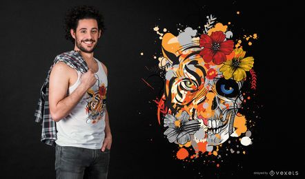 Projeto do t-shirt do tigre do crânio
