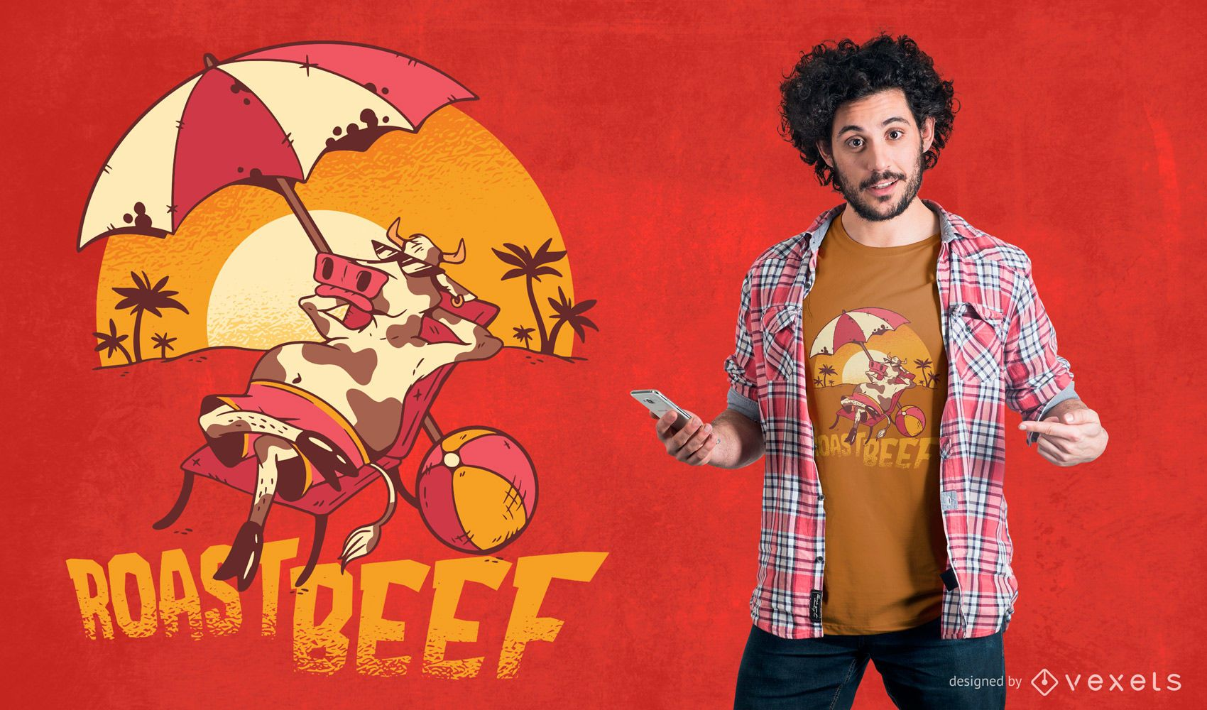 Diseño de camiseta de carne asada