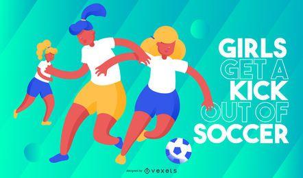 Mädchen treten Fußballillustration