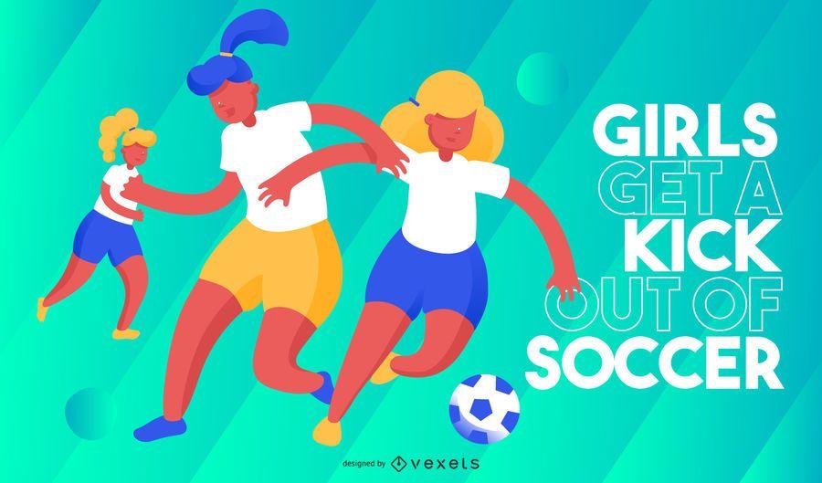 Meninas chutam ilustração de futebol