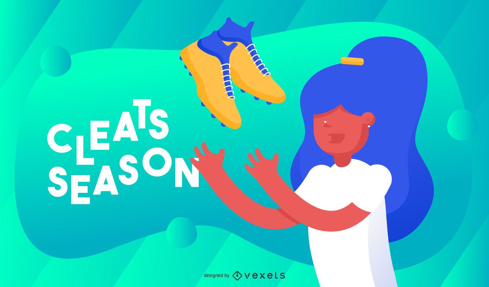 Cleats season illustration