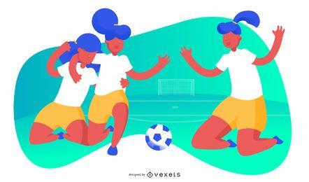 Ilustración de fútbol femenino