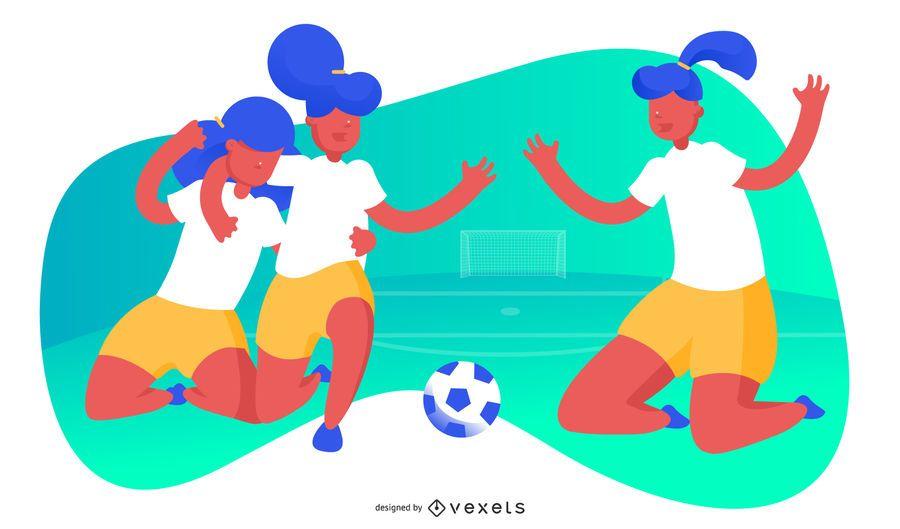 Women's soccer illustration