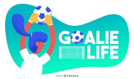 Ilustração de futebol da vida do goleiro