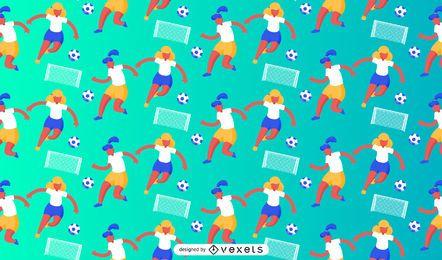 Desenho de padrão de jogadoras de futebol