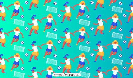 Female soccer players pattern design