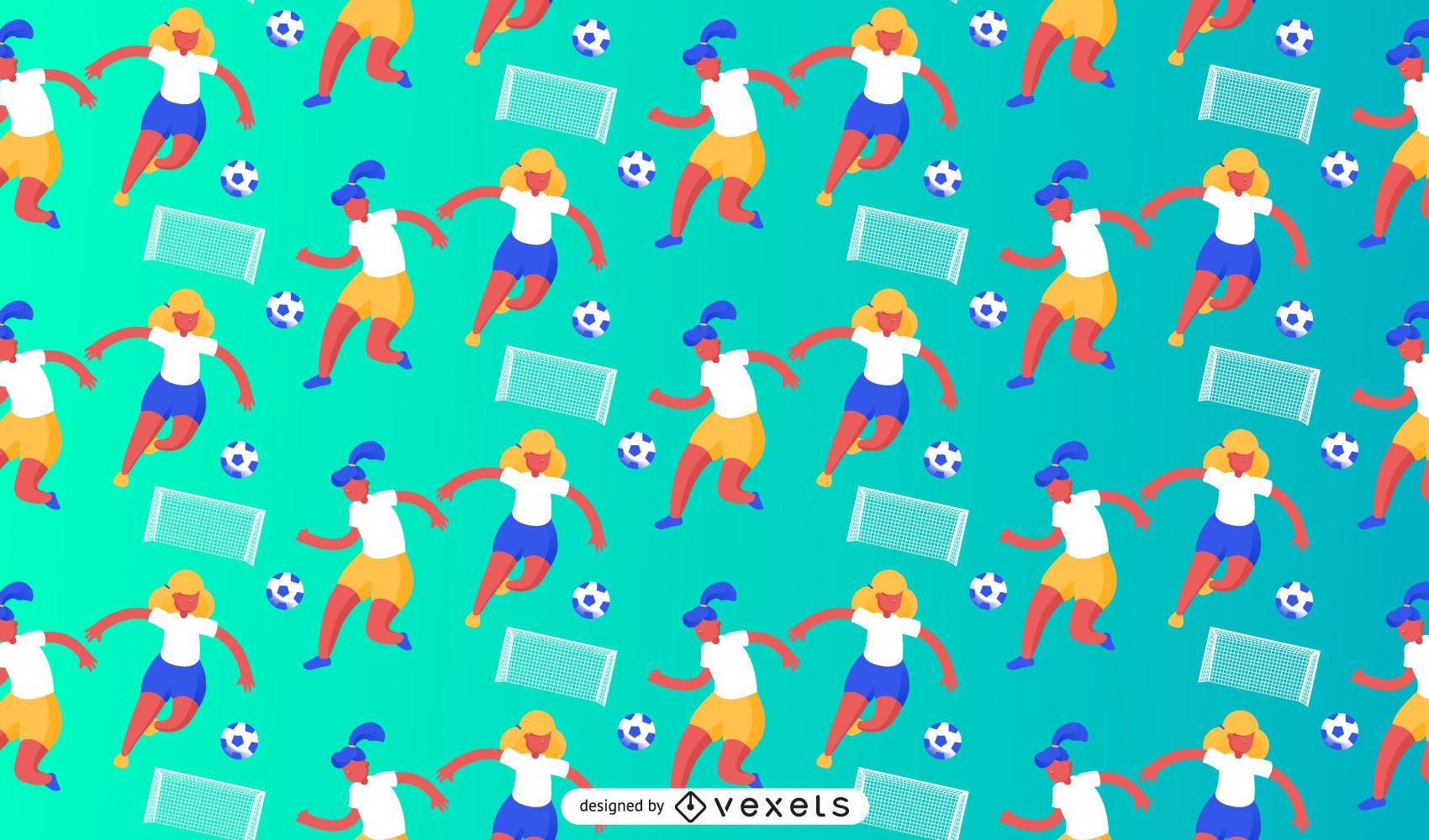 Female soccer players pattern design