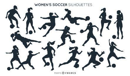 Colección de siluetas de fútbol femenino.