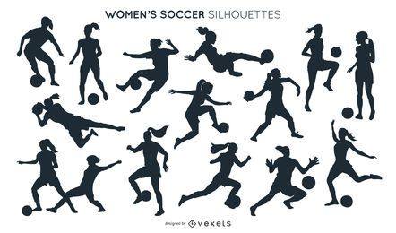 Frauenfußball-Silhouetten-Sammlung