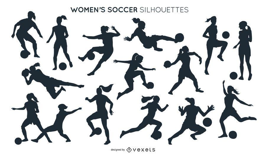 Coleção de silhuetas de futebol feminino