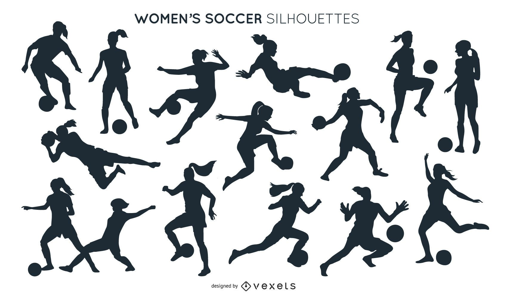 Colección de siluetas de fútbol femenino