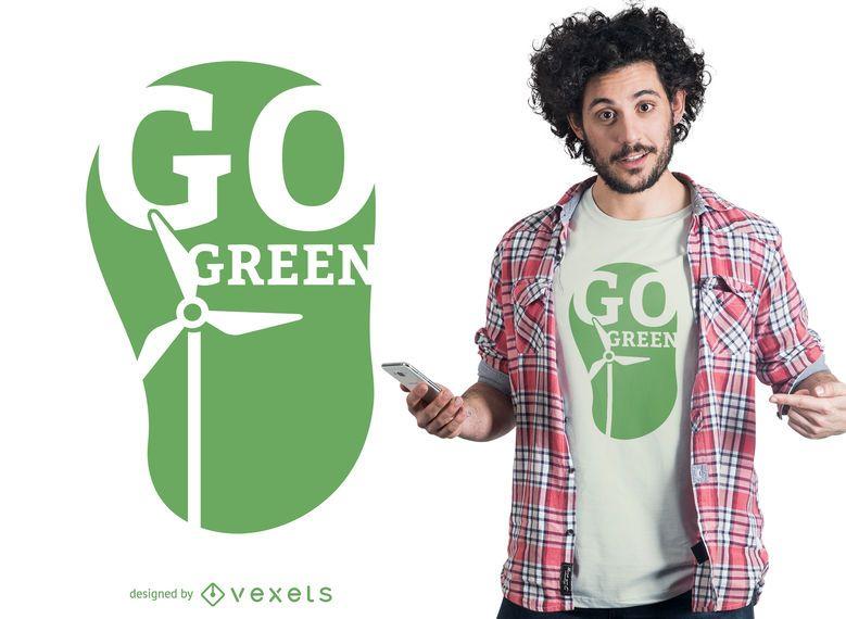 Vai o design verde do t-shirt
