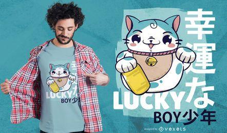 Diseño de camiseta chico afortunado