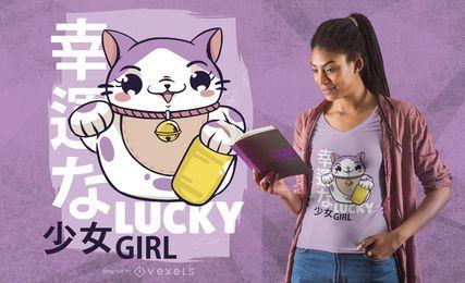 Diseño de camiseta de niña afortunada.