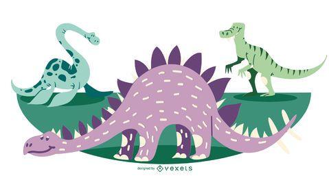 Ilustración de dinosaurio de dibujos animados lindo