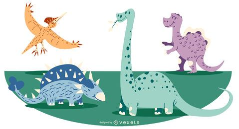 Ilustración de dinosaurio de dibujos animados