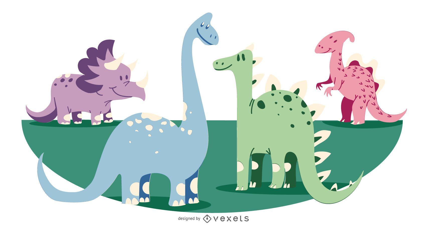 Ilustración linda colección de dinosaurios