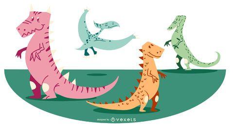 Bunter Dinosaurier-Entwurf