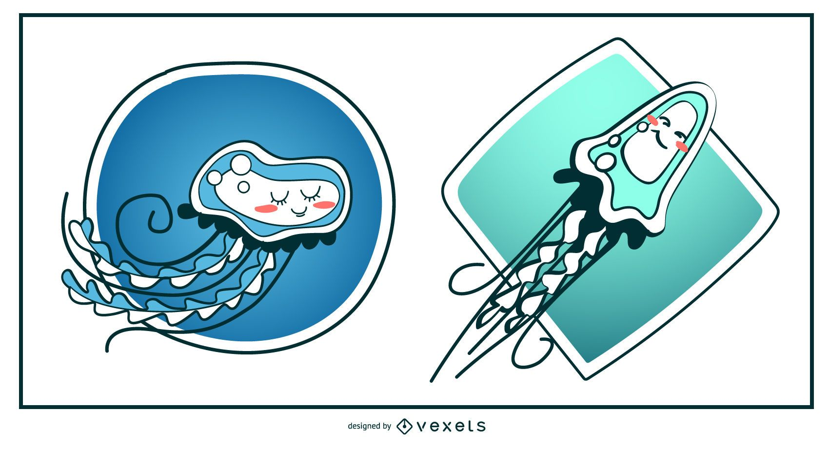 Ilustración linda de las medusas
