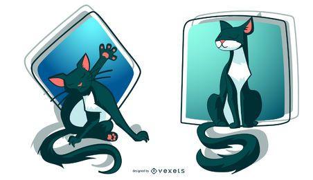 Ilustración de gatos con estilo