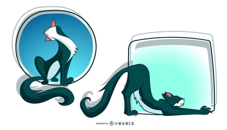 Esticando a ilustração do gato