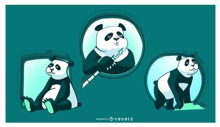 Ilustración de panda lindo