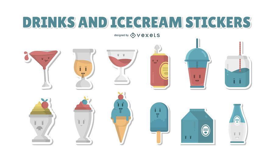 Colección de pegatinas de bebidas y helados