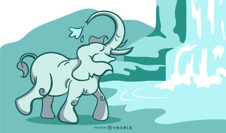 Elephant waterfall illustration