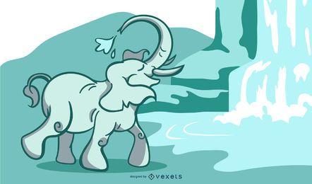 Ilustração de cachoeira de elefante
