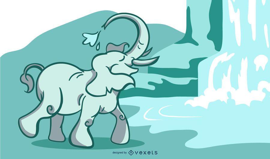 Elephant waterfall illustration