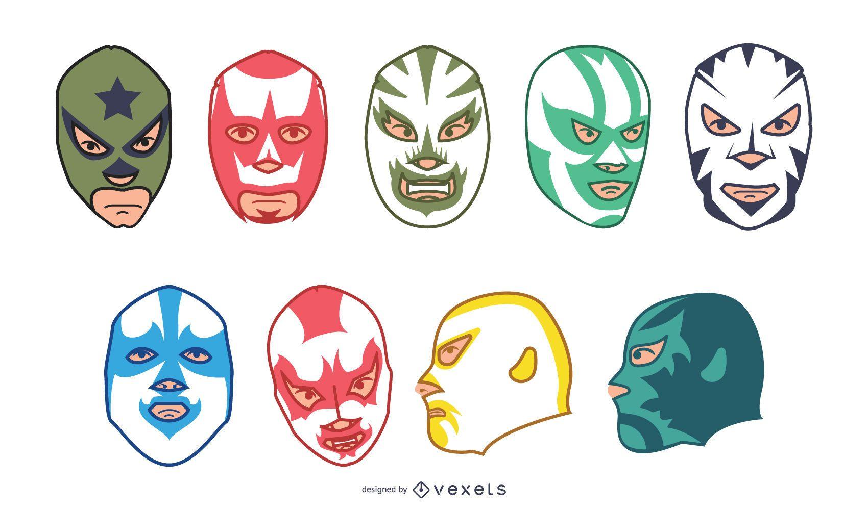 Colección de máscaras de lucha libre mexicana