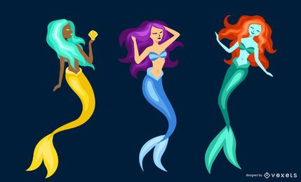 Flat mermaid set